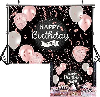 Haboke Birthday Decorations 7x5ft Polyester Backdrop Black and Rose Gold Pink and White Balloon Photography Background Women or Men Party Supplies Banner Photo Booth