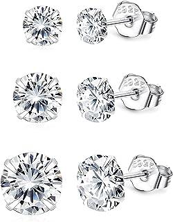 Hommes Femmes 14K Or Jaune Sur Argent Sterling 925 Diamant Carré Boucles D/'oreilles Clou