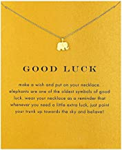 Good Luck Elephant Pendant Chain Necklace with Message Card (Gold)