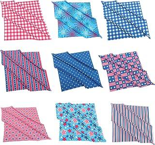 EXCEART 4Th of July 9Pcs Quadrados de Tecido de Folhas Decorações Bandeira Azul Branco Vermelho Com Estrela Padrão Stripe ...