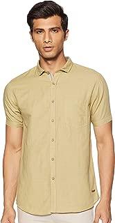 CHEROKEE Men's Solid Regular fit Casual Shirt (400020220462_Lt-Olive XL)