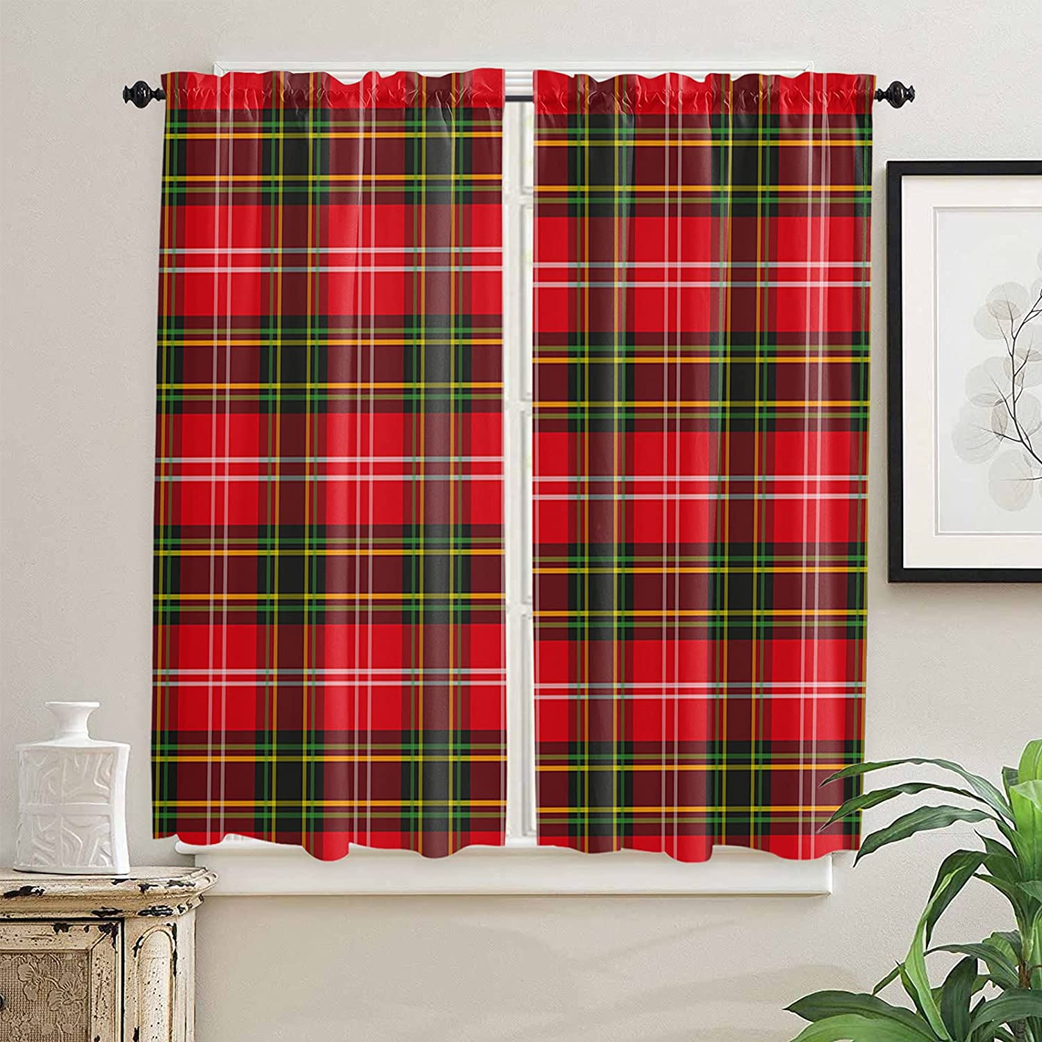 Christmas Kitchen Curtains 63 Inch Length G for free Windows Gorgeous Red and