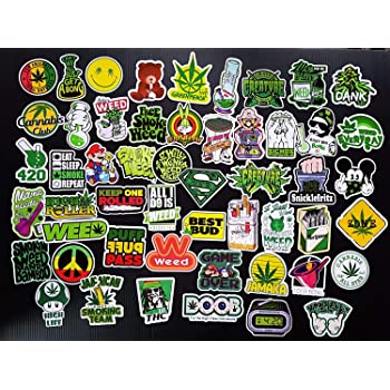 Weed Stickers for Water Bottles Laptop Computer Phone Cool Stickers 50PCS Weed Stickers