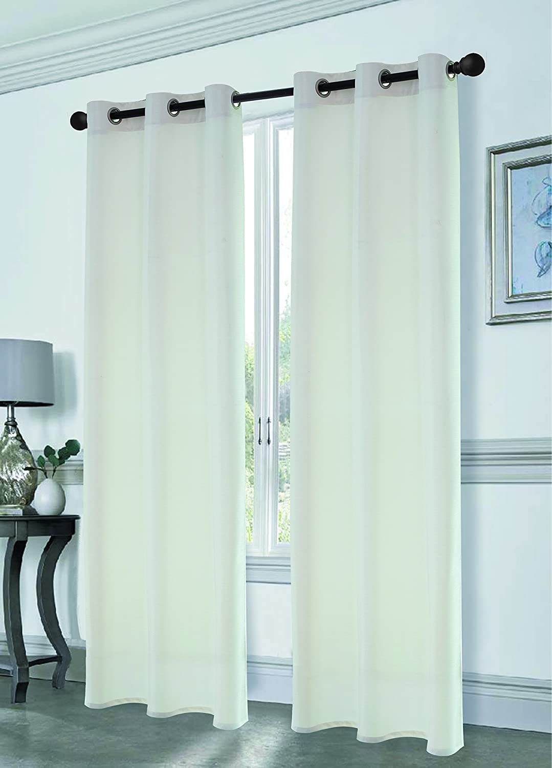 Dainty Home Antique Satin Blackout Grommet Window Panel Pair 76 by 84-Inch, White