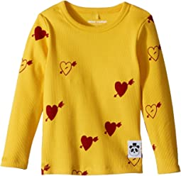 mini rodini - Heart Rib Long Sleeve T-Shirt (Infant/Toddler/Little Kids/Big Kids)