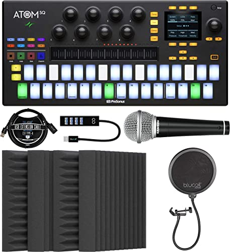 """PreSonus ATOM SQ Hybrid MIDI Keyboard/Pad Performance & Production Controller Bundle with Blucoil 4x 12"""" Acoustic Wedges, USB-A Mini Hub, Samson R21S Microphone, Pop Filter, and 3' USB Extension Cable"""