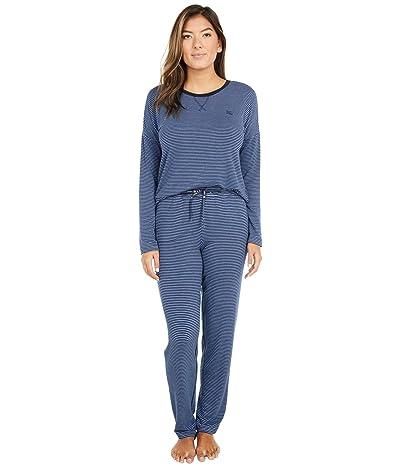 LAUREN Ralph Lauren French Terry Long Sleeve Scoop Neck Joggers Pajama Set (Navy Stripe) Women