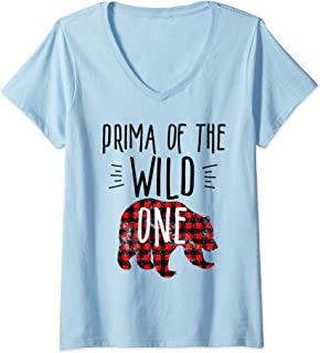 Womens Prima of the Wild One Buffalo Plaid Lumberjack 1st Birthday V-Neck T-Shirt