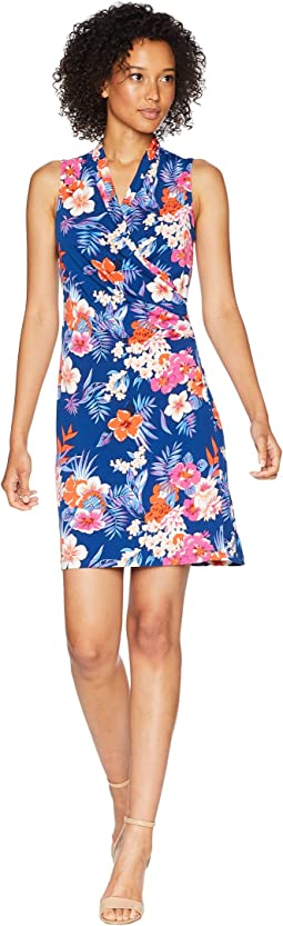 Mira Dora Floral Sleeveless Wrap Short Dress