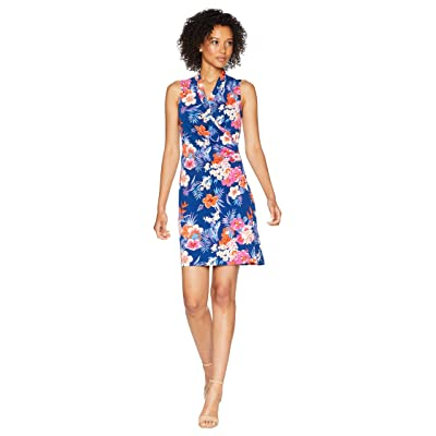 Tommy Bahama Mira Dora Floral Sleeveless Wrap Short Dress (Dark Cobalt) Women