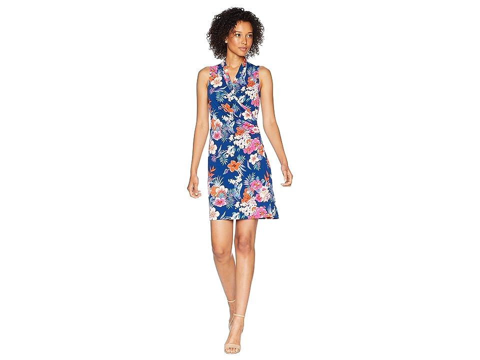 Tommy Bahama Mira Dora Floral Sleeveless Wrap Short Dress (Dark Cobalt) Women