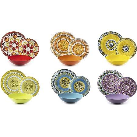 Excelsa ETNO Chic Service Table, Porcelaine, Multicolore, 21Unité