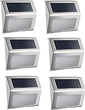 أضواء سلالم الطاقة الشمسية، (6 عبوات) Elelink مقاوم للماء الفولاذ المقاوم للصدأ LED الإضاءة الخارجية لسيج السير على سطح ال...