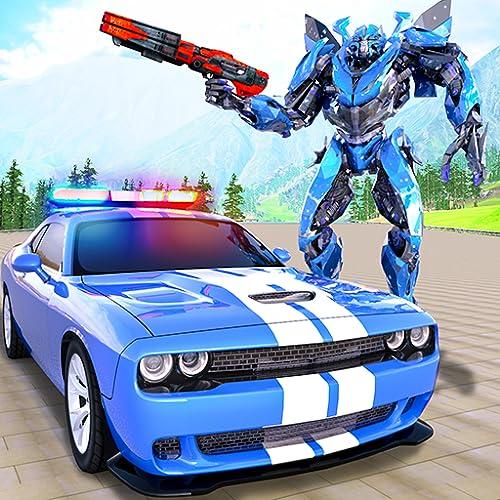 Echt Polizei Auto Verfolgungsjagd Roboter Verwandlung