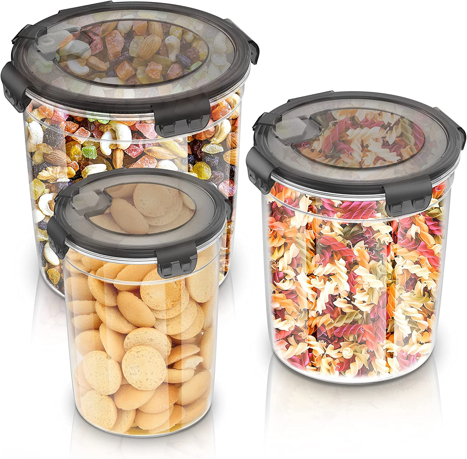 Food Storage Containers Set with Lids-3 Pack, Airtight Plastic Dry Food Canisters for Kitchen Pantry Organization and Storage - BPA-Free, Ideal for Flour, Cereal & Sugar