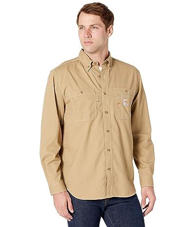 Carhartt Flame-Resistant Force Original Fit Lightweight Long Sleeve Button Front Shirt (Dark Khaki) Men