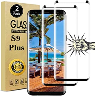 【2 Pack】Galaxy S9 Plus Screen Protector, Full Coverage Bubble-Free 9H Scratch-Resistant HD Clear 3D Curved Dot Matrix Temp...