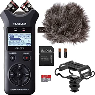 Tascam DR-07X Digital Audio Recorder Bundle with Movo Microphone Shock Mount,