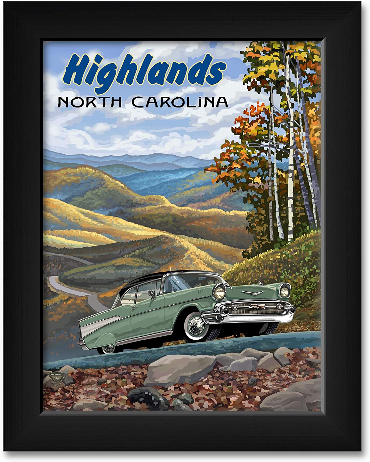 Highlands NC High quality new Chevy Professionally Framed 2021 new Art A Travel Print from