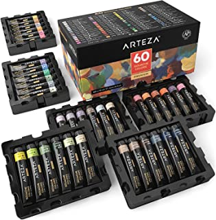 ARTEZA Gouache Paint, Set of 60 Colors/Tubes (12 ml/0.4 US fl oz) Opaque Paints, Ideal for Canvas Painting, Watercolor Paper, Toned Paper, or Using with Watercolors and Mixed Media