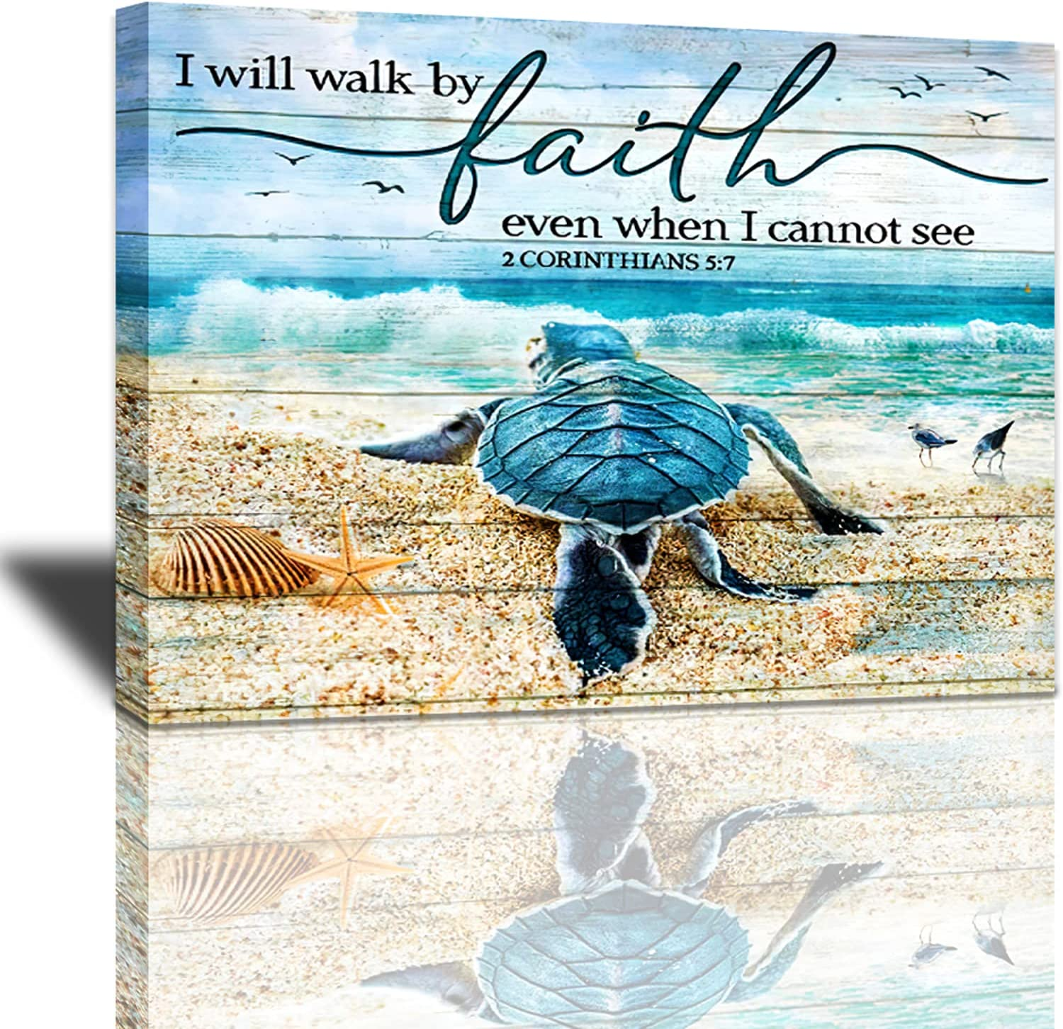 Tourrest Scripture Holy Bible Wall Art Teal Sea Turtle Walk by Faith Canvas Print Inspirational Quotes Framed Artwork Blue Ocean Beach Coast Scenery Poster Motivational Animal Large Wooden Wall Décor
