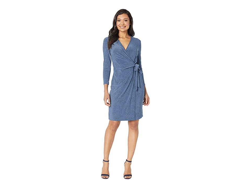 Anne Klein Robins Egg Faux Wrap Dress (Versailles/Anne Black) Women