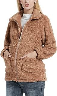 GINKANA Women's Maternity Coat Jacket with Pockets Long Sleeve Lapel Faux Shearling Zip Up Warm Winter