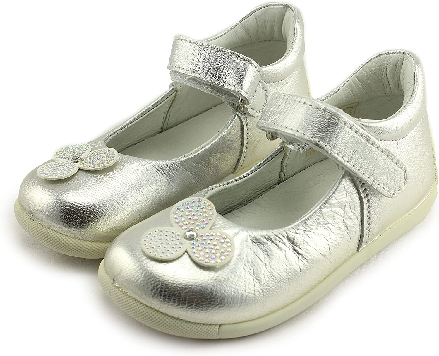 Primigi Girls Mary Jane Leather Shoes with Arch, Ankle, and Orthopedic Support (75173/00 Capra Laminata/Argen)