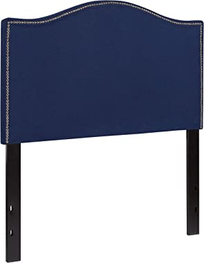 Flash Furniture Lexington Upholstered Twin Size Headboard with Accent Nail Trim in Navy Fabric