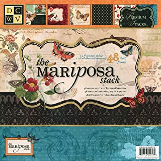 DCWV Premium Stacks, Mariposa Matstack with Glitter and Foil, 48 Sheets, 12 x 12 inches