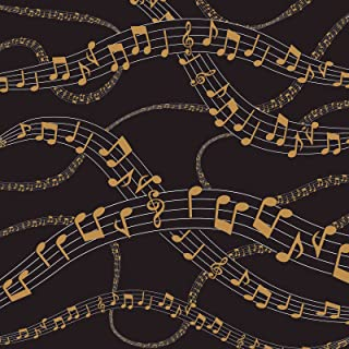 American Crafts 341330 Black Gold Music Notes Paper, 12 x 12, Multicolor