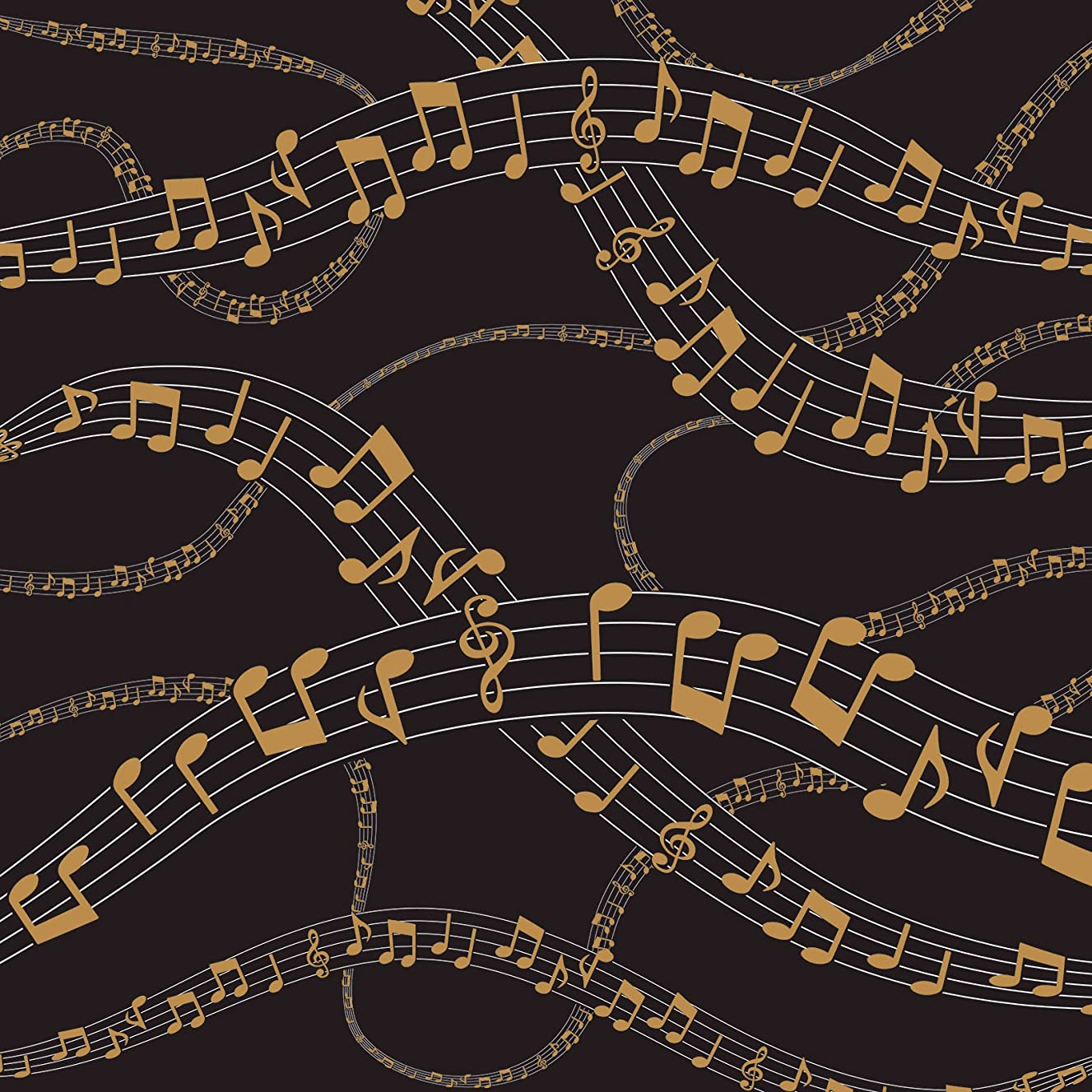 American Crafts 341330 Black Gold Music Notes Paper, 12 x 12