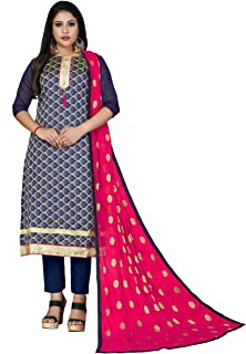 Maroosh Women'S Silk Fabric Blue Color Chudidar Free Size Dress Material