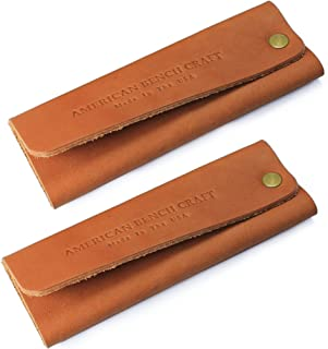 American Bench Craft Leather Cast Iron Handle Cover for Skillets & Pots (set of 2) - American Made Hot Handle Holders (Tan)