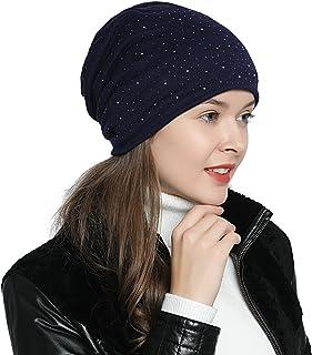 be03e9ada2560 DonDon Bonnet d'hiver femme slouch beanie souple avec strass doublure  moelleuse et chaude
