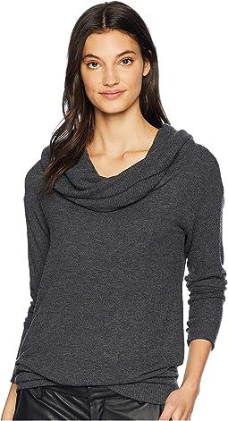 a6b5896b4dbec Dkny jeans cowl neck poncho sweater w drapey hem smoke grey heather ...