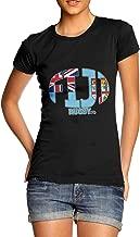 TWISTED ENVY Women's Fiji Rugby Ball Flag Organic Cotton T-Shirt