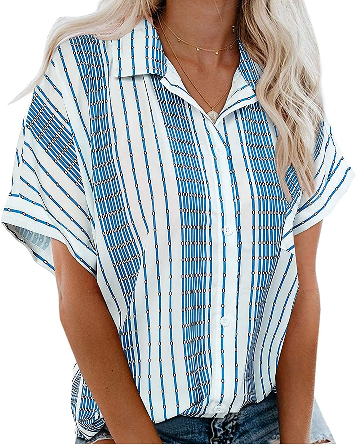 FUNEY Womens Button Down Blouse Shirts Short Sleeve V Neck Casual Loose Collared Tops with Pockets,Summer T Shirts(S-3XL)
