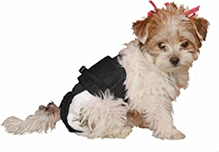 SammyDoo Pet Diaper Wrap Fits, Approximately 3-Pound to 6-Pound, 8 to 11-Inch, Girth 14 to 18-Inch, X-Small, Black