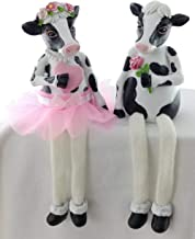 Black and White Cow Figurine Shelf Sitters with Dangling Legs | Rustic Cow Kitchen Decor | Holstein Cow Home Decor or Kitchen Shelf Sitters | Animal Cow Figurine