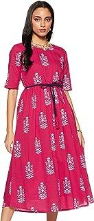 Amazon Brand - Myx Women's Screen Print Regular Fit Kurta Dress