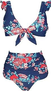 Women's Retro Floral High Waisted Shirred Bikini Set Tie Front Closure Top Ruffle Swimsuit(FBA)