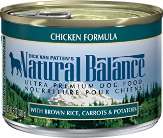 Natural Balance Ultra Premium Wet Dog Food, Chicken Formula with Brown Rice, Carrots & Potatoes, 6 Ounce Can (Pack of 12)