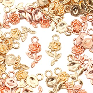 JETEHO Pack of 100 Alloy Charms Pendants Rose Shape DIY Pendant Charms for Making Bracelet and Necklace, Gold and Rose-Gold