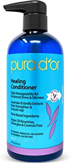 PURA D'OR Healing Argan Oil Conditioner for Dry, Damaged, Frizzy Hair, w/Aloe Vera, Lavender, Vanilla, Coconut, Retinol & Vitamin E, Sulfate Free, All Hair Types, Men Women 16 oz (Packaging may vary)