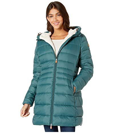 Save the Duck Giga 9 Puffer Coat with Sherpa Lining (Alpine Green) Women