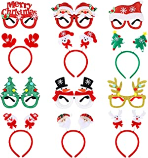 12 Pieces Novelty Christmas Glitter Eyeglasses Christmas Decorative Glasses and Christmas Tree Santa Claus Snowman Reindeer Design Christmas Velvet Headpiece Xmas Booth Props for Costume Party