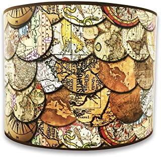 Royal Designs Modern Trendy Decorative Handmade Lamp Shade - Made in USA - Vintage Old World Maps Design - 10 x 10 x 8