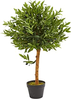 Nearly Natural 34-in. Olive Topiary Artificial UV Resistant (Indoor/Outdoor) Silk Trees Green