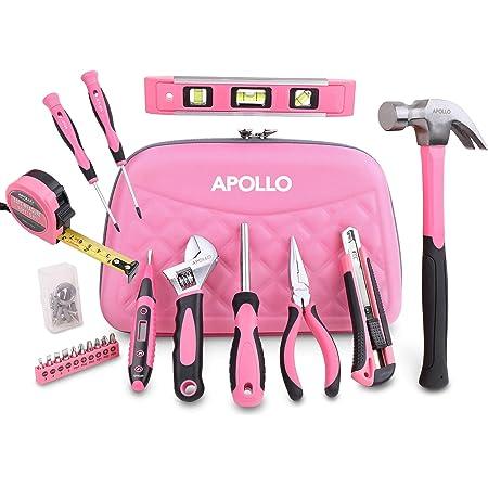 Apollo Trousse à Outils Rose, Malette à Outils pour Femme Contenant 21 pièces avec Crochets, Pinces et Outils pour Bricolage